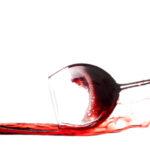 Glass of wine on it's side